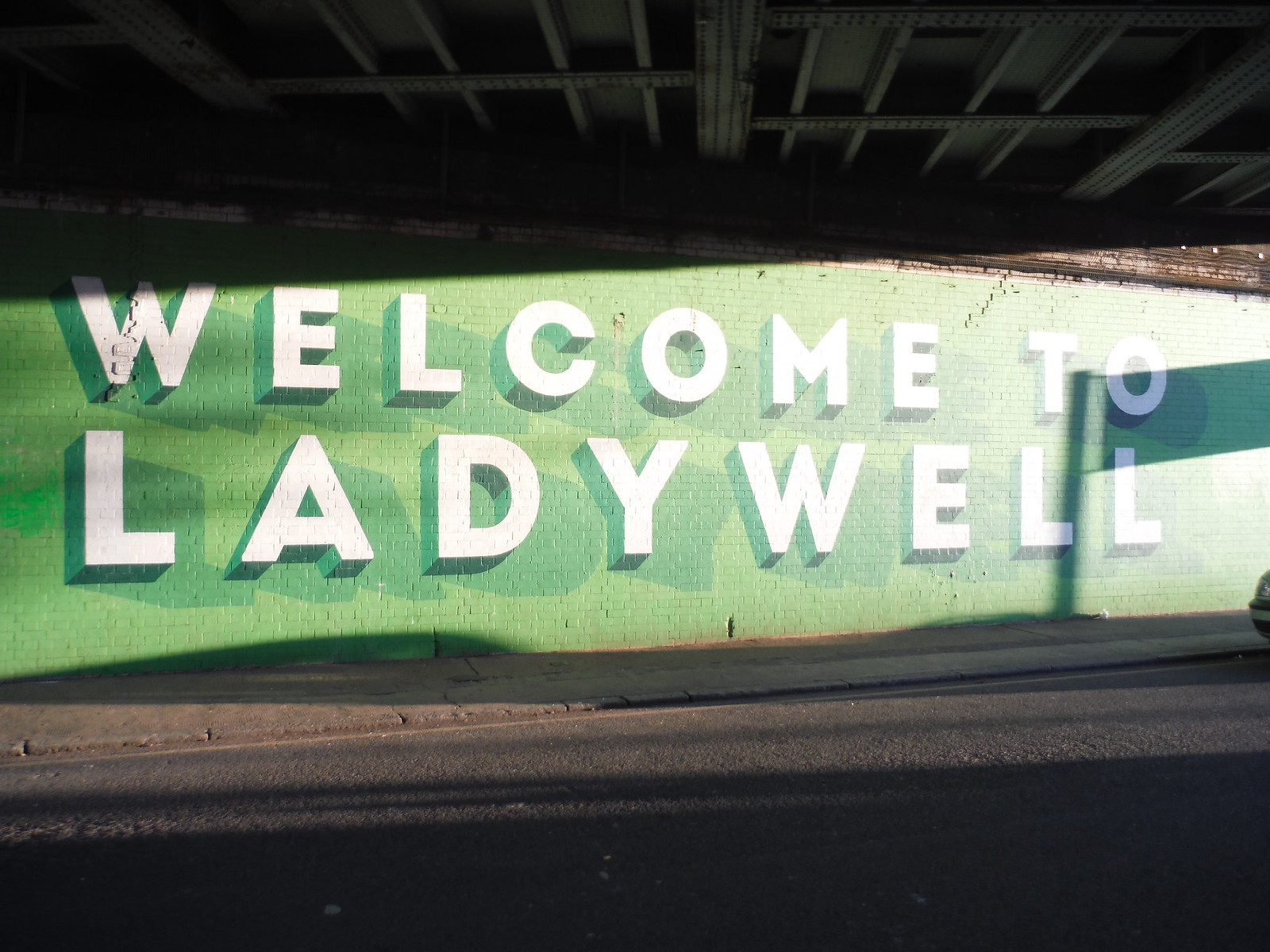 Ladywell Sign under Railway on Boundary with Lewisham SWC Short Walk 36 - Waterlink Way (Lower Sydenham to Greenwich)