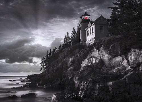 bass harbor lighthouse maine bar mystery light mono black white moody water ocean atlantic coast