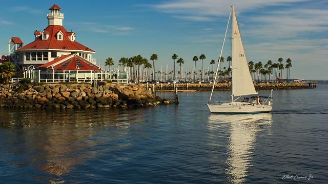 Sailboat entering the marina at Long Beach, Ca.