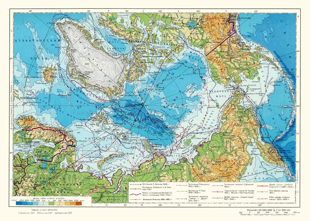 Арктика физическая карта