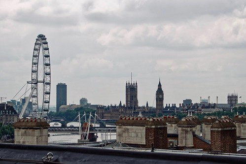 Palace of Westminster and London Eye from the roof of King's College London