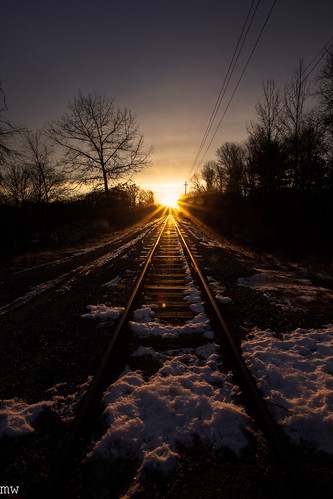 railroad tracks dawn massachusetts new england morning chelmsford