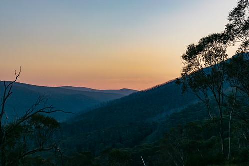 sunset landscape mountain color colors colorful orange forest australia kosciuszko kosciuszkomountain nationalpark evening tree trees green nature sunsetlandscape snowymountains walk hiking thredbo kosciuszkonationalpark australianalps alps thesnowies slope view sun sky
