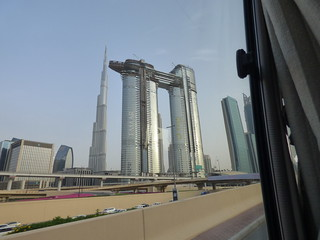 Burj Khalifa 800m, Dubai, new architecture under construction. Taken from a moving vehicle.