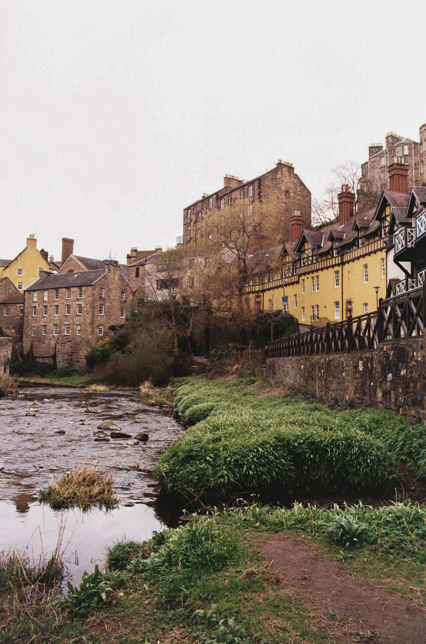 Dean Village, Edinburgh, on a grey day.