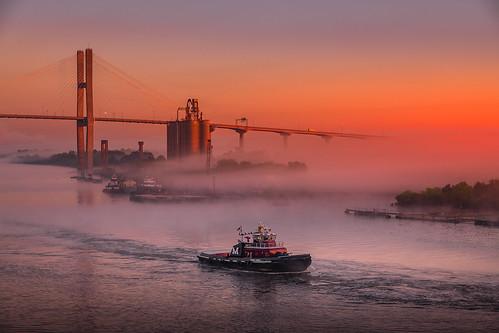 georgia holladayphotography landscape savannah sunrise talmadge memorial bridge river tug boat tugboat savannahgeorgia