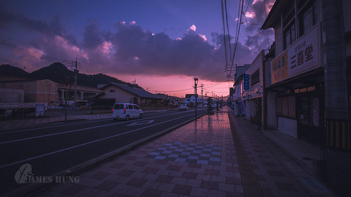 武雄 kyushu sunset street 九州 takeo 日本 afterglow 晚霞 japan clouds
