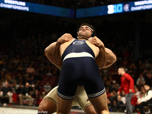 1st Place Match - Anthony Cassar (Penn State) 25-1 won by decision over Gable Steveson (Minnesota) 30-1 (Dec 4-3) - 190310dmk0198