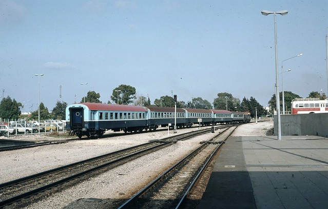 Israel Railways - Haifa Bat Galim train station - ISR Class G12 diesel locomotive and passenger train