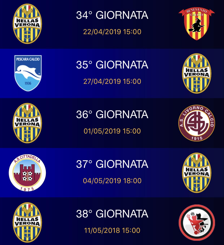 Calendario Verona.Il Calendario Dell Hellas Verona Hellas Live