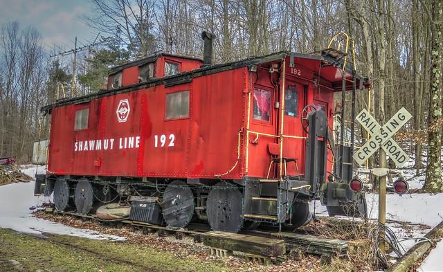 P&S, Pittsburg & Shawmut Railroad, Shawmut Line Caboose #192 including the Christmas lights