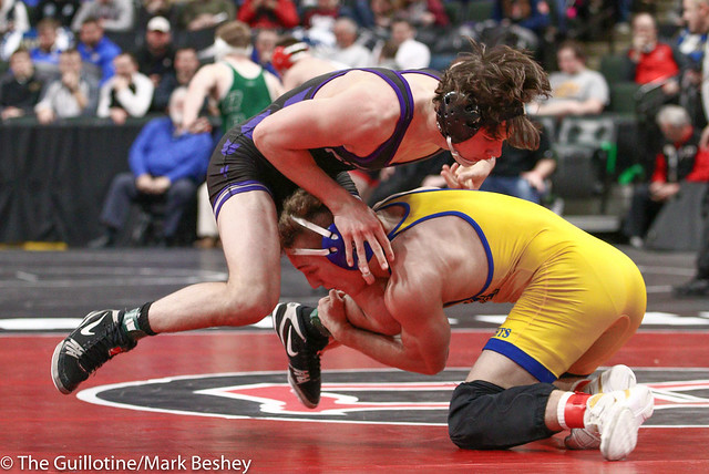 160 - Semifinal - Gabe Nagel (Little Falls) 45-0 won by decision over Wyatt Lidberg (St Michael-Albertville) 44-6 (Dec 2-1) - 190302amk0124