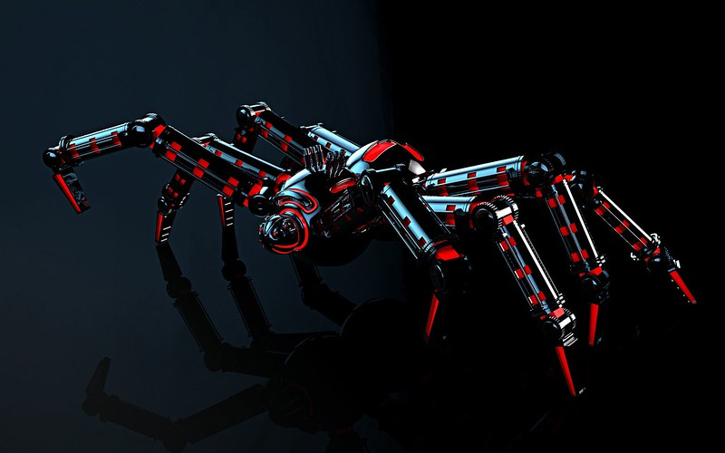 Обои механизм, отражение, паук, робот, свет картинки на рабочий стол, фото скачать бесплатно