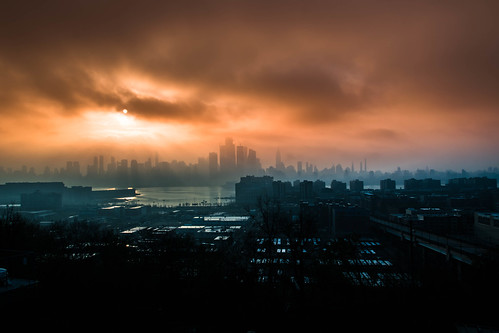 newjersey hoboken sunrise manhattanskyline mist fog dimma soluppgång skyline unioncity usa us