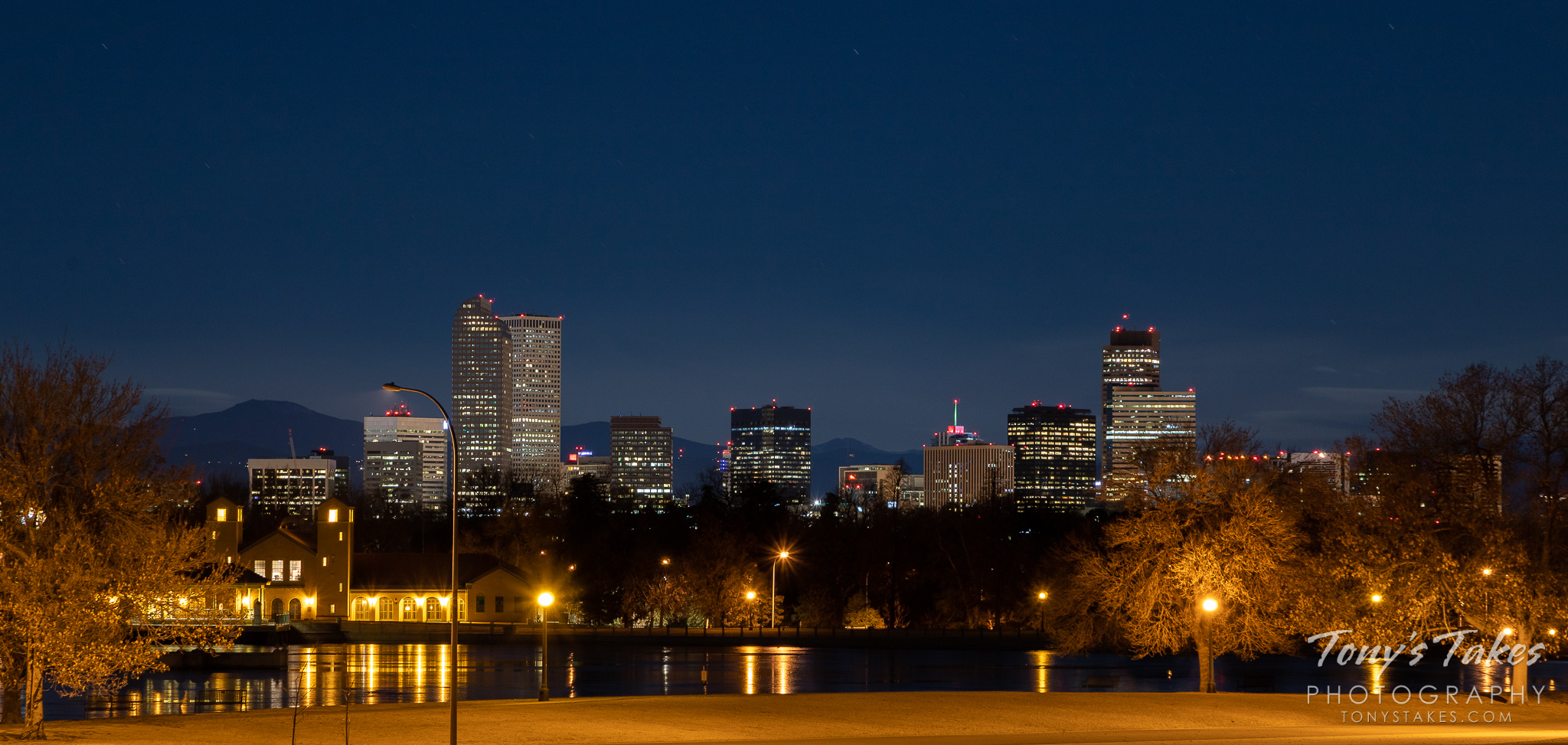 The nighttime skyline of Denver, Colorado as seen from City Park. (© Tony's Takes)