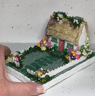 Mini Irish Cottage Putz with blessing on the base | by christmasnotebook