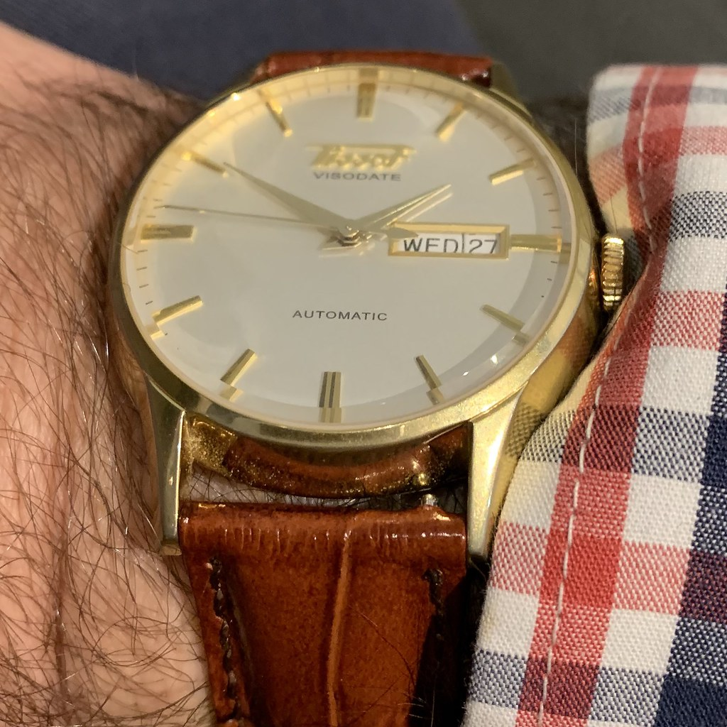 Tissot Visodate with brown leather croc strap