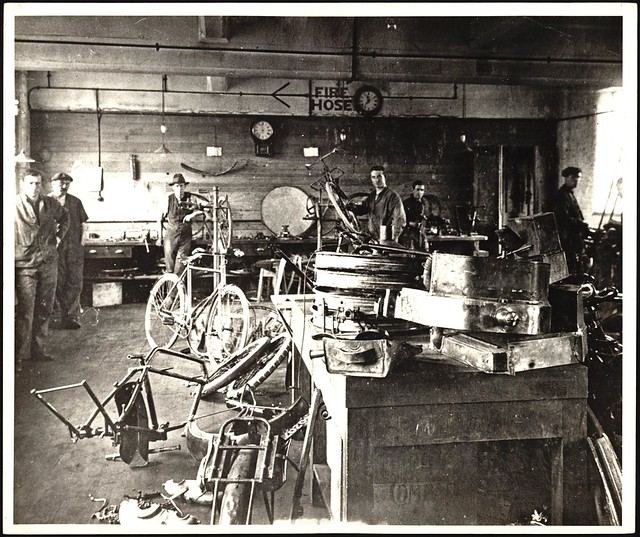Post Office bicycle repair shop Wellington - early 1900s