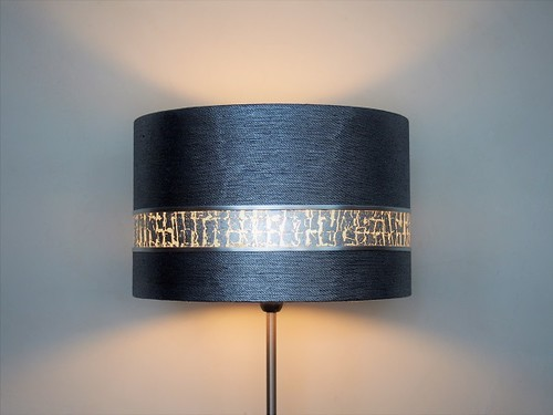 Abat-jour haut de gamme tissu métallisé et bandeau argent | Jade Création