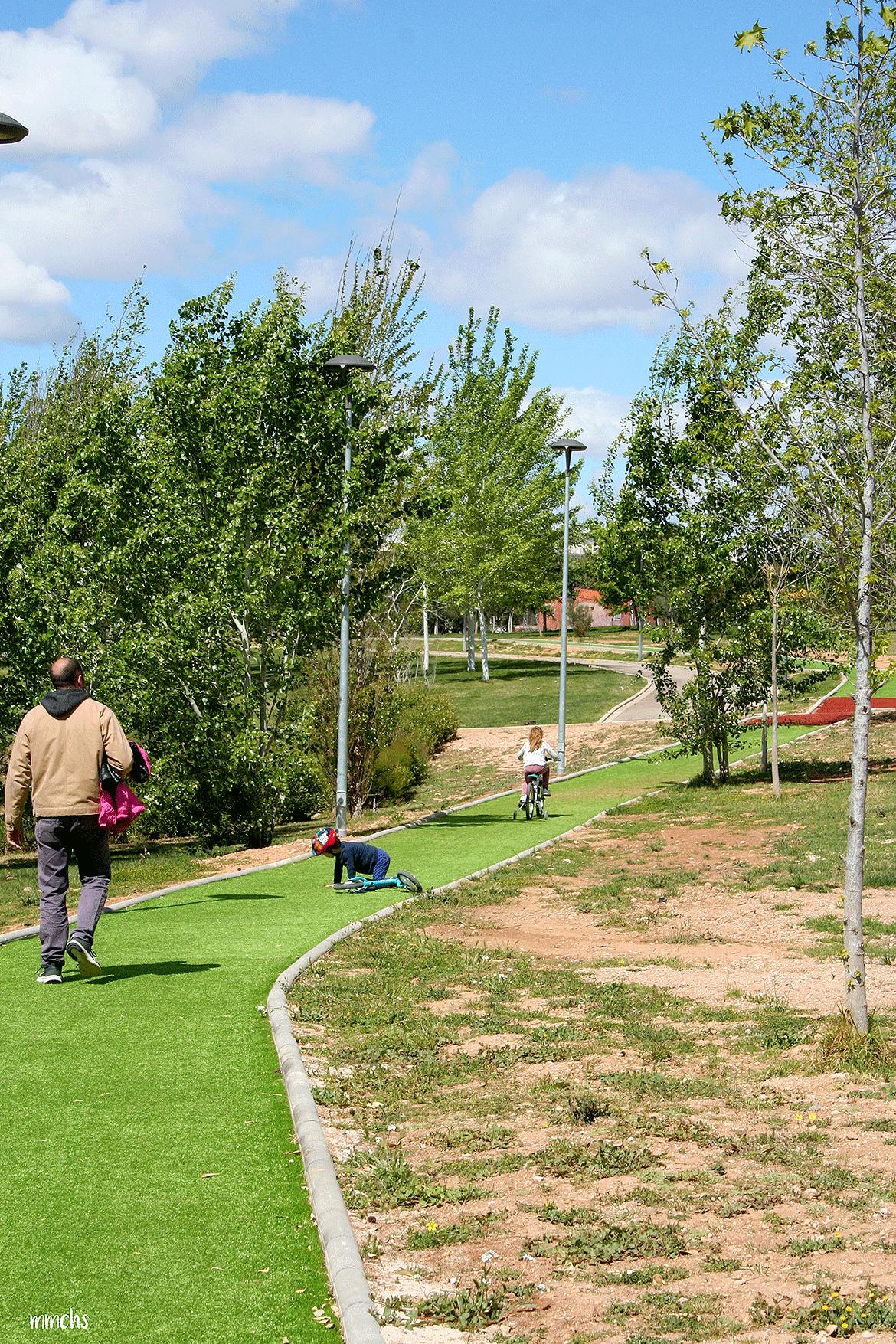 niños montando en bici en el parque