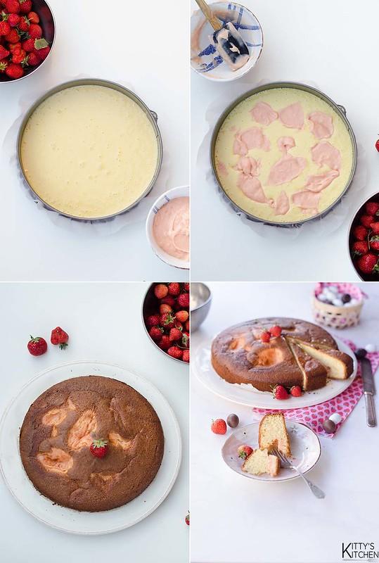 Torta nua con crema alle fragole