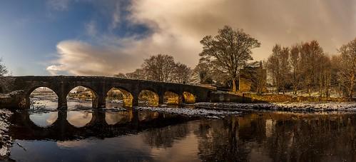 panorama buncrana inishowen donegal ireland castle castlebridge cahirodohertyskeep cranariver sunrise snow vertorama