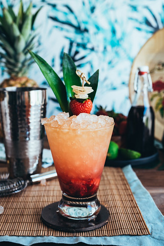 Hawaiian Honi Cocktail (Strawberry Hibiscus Rum Smash Cocktail) www.pineappleandcoconut.com | by PineappleAndCoconut