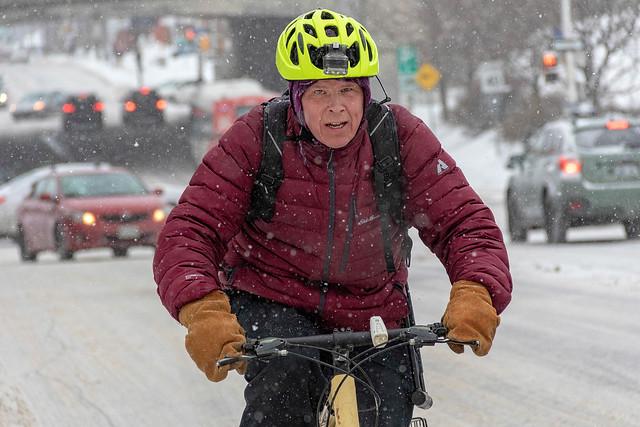 Winter Snow Cyclist on Bank Street