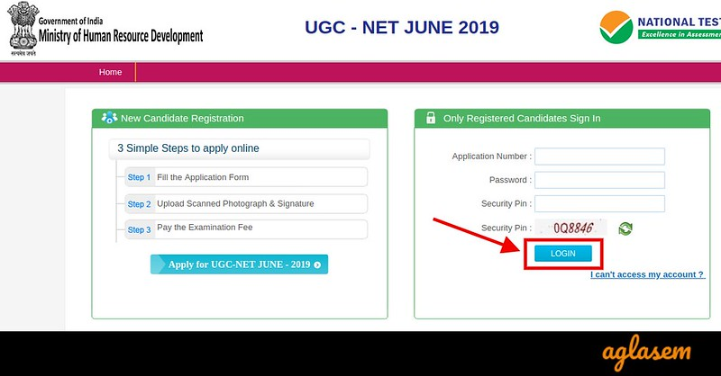 Login window to correct UGC NET Application Form 2019