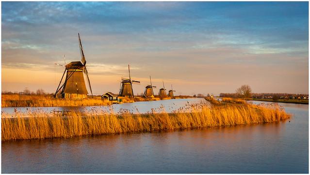 Golden hour at Kinderdijk