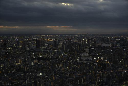 arakawariver irumariver japan tokyo tokyoskytree buildings cityscape clouds confluence evening magichour night skyline sunset urban