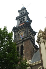 Westerkerk klok toren clock tower aan de Westerstraat Amsterdam North Holland Nederland September 2010