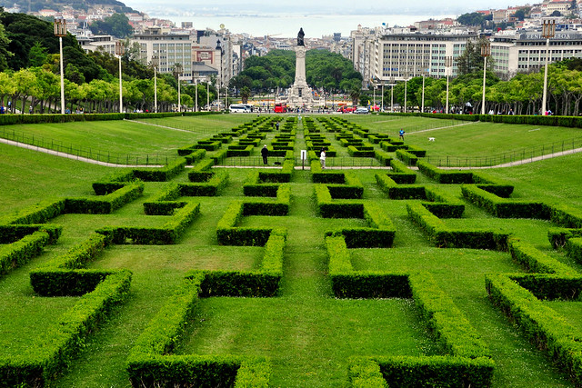 Marquis of Pombal Square, view from the Eduardo VII Park - Lisbon, Portugal