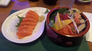 Salmon sashimi and chirashi bowl | by Parkzer