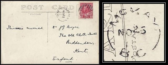 "British Columbia / B.C. Postal History - 26 November 191? - McKAY, B.C. (split ring, broken circle cancel / postmark) to ""The Old Cloth Hall"", North Street, Biddenden, Kent, England"