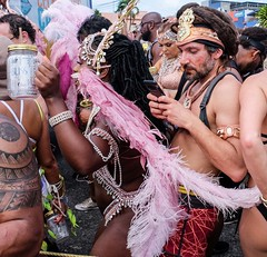 Carnival in Trinidad - Busy writing an e-mail