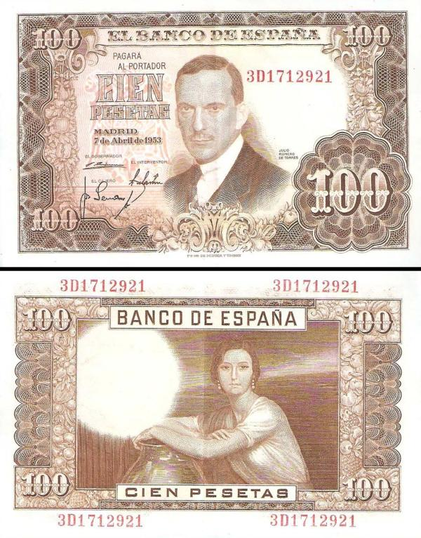 100 Pesetas Španielsko 1953, P145a