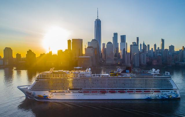 Phantom4Pro shot of a cruise ship returning to NYC , Hudson River