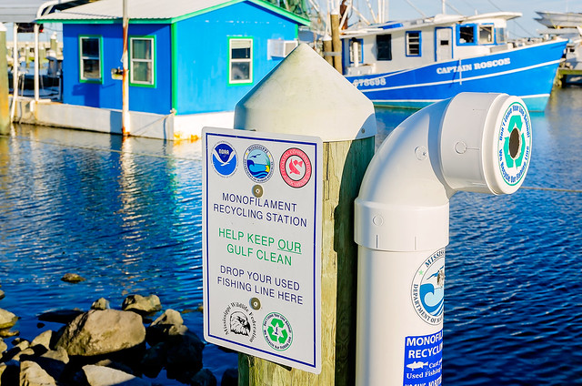 Monofilament fishing line recycling station in Pass Christian Mississippi