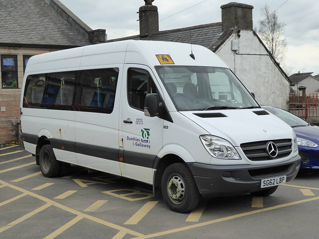 SG62 LBP is a MB 513CDi 14-seater of Dumfries & Galloway Council, seen in Kirkconnel on 14 April 2019.