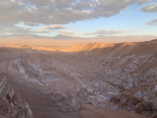 Sunset, the Valley of Mars, the Valley of the Moon (Valle de la Luna), San Pedro de Atacama, the Atacama Desert, Chile.
