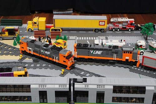 Lego models of V/Line N and P class diesel locomotives