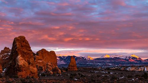 "utah archesnationalpark arches nationalpark thewindows moabutah sunset sunsetcolor winter lasalmountains""""fierysunset landscapephotography jamesmarvinphelps jamesmarvinphelpsphotography lasalmountains""""fierysunset"