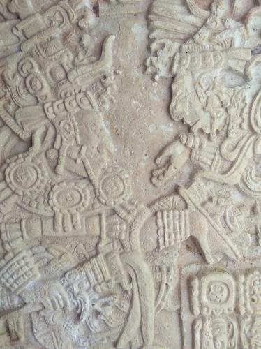 Ein Relief im Türsturz einer Ruine, Yaxchilán - Mexico.