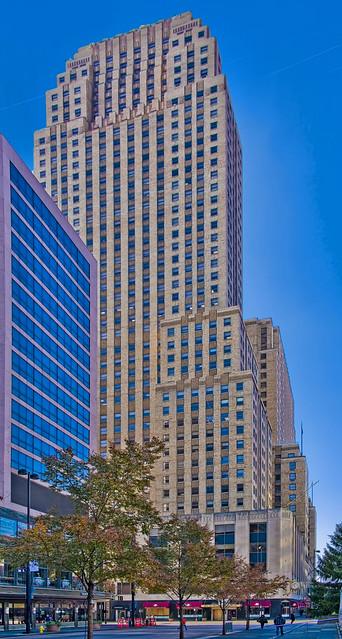 Carew Tower, 441 Vine Street, Cincinnati, Ohio, USA / Built: 1930 / Architect: W.W. Ahlschlager & Associates, Delano & Aldrich / Developer: John J. Emery / Floor count: 49 / Height: 175 m (574 ft) / Lifts/elevators: 14 / Architectural style: Art Deco