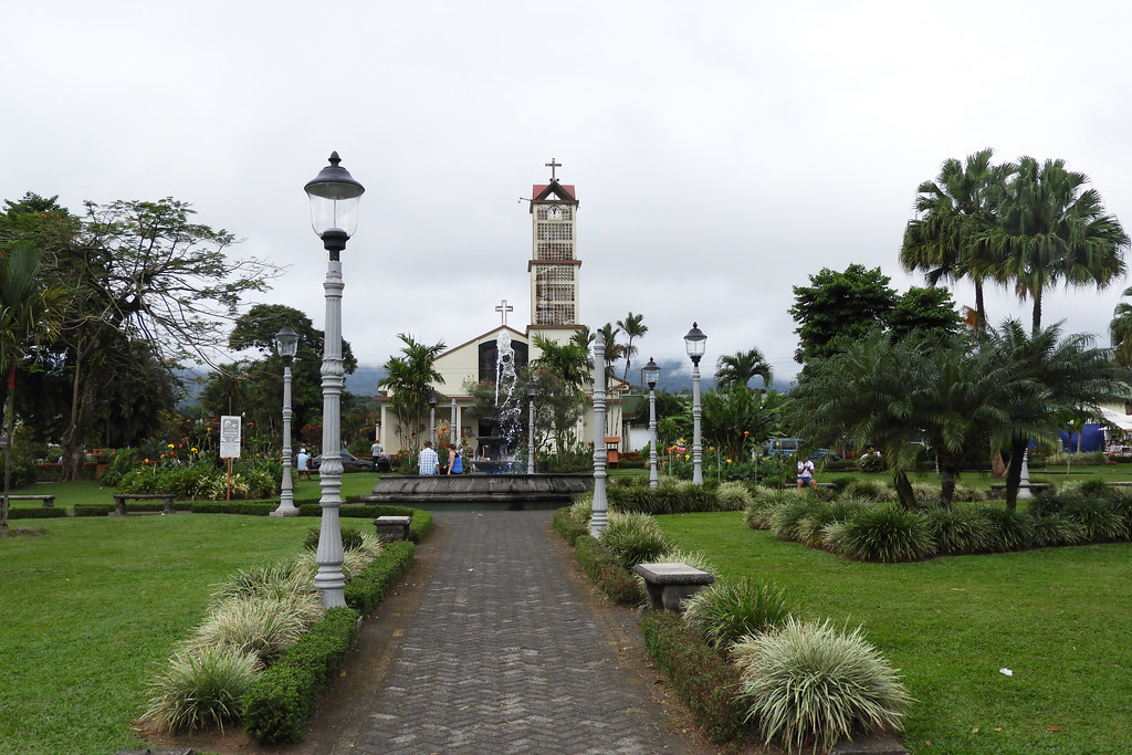 0207 San Juan Bosco church from Central Park - La Fortuna Costa Rica - 01-29-2019