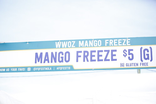 Mango Freeze sign at French Quarter Fest 2019. Photo by Michele Goldfarb.