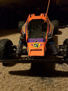 Tamiya Thundershot / Thunder Dragon / Terra Scorcher / Fire Dragon carbon front shock tower and ball joint camber link mount | by cyturner