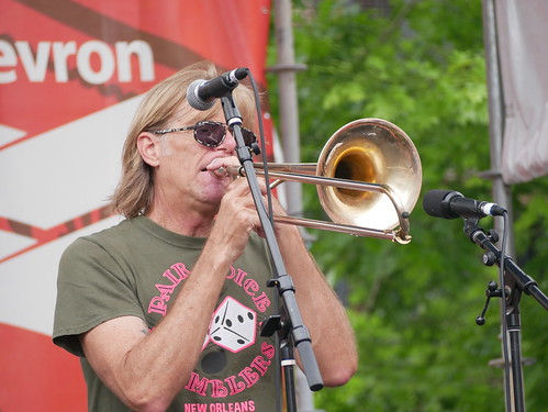 Craig Klein of New Orleans Nightcrawlers on Day 2 of French Quarter Fest - 4.12.19. Photo by Louis Crispino.