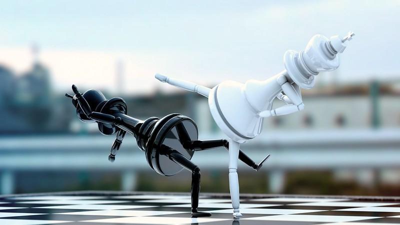 Обои шахматы, фигуры, драка, доска картинки на рабочий стол, фото скачать бесплатно
